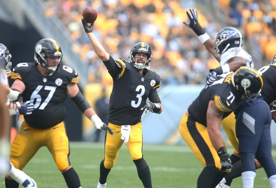 Pittsburgh Steelers quarterback Landry Jones throws against the Tennessee Titans during their preseason game in 2018.