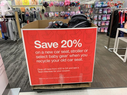 Targets any replacement of car seat back. Get a 20% coupon for recycling an old car seat 3rd-13th. September.
