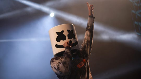 Marshmello performs at the Z100 Summer Bash.