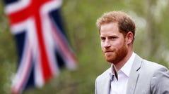 Prince Harry, Duke of Sussex, at the Virgin Money London Marathon on April 28, 2019.