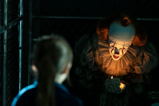 "Pennywise (Bill Skarsgard) is back to enticing young children to their doom in the horror sequel ""It: Chapter Two."""