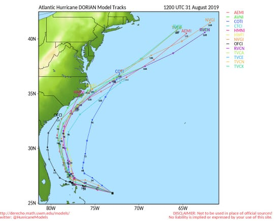 One model predicted Hurricane Dorian might move up the east coast