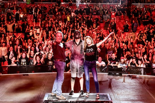 Max Weinberg, Jay Weinberg and Becky Weinberg at the Aug. 30, 2019 Slipknot show at the at the PNC Bank Arts Center in Holmdel.