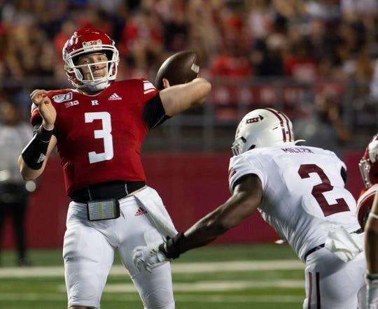 Rutgers quarterback McLane Carter in season opener. Rutgers-UMass football season opener at SHI Stadium in Piscataway on August 30, 2019.