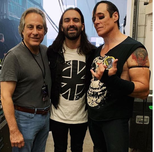 Max Weinberg, Jay Weinberg and Jerry Only at the Aug. 30, 2019 Slipknot show at the at the PNC Bank Arts Center in Holmdel.