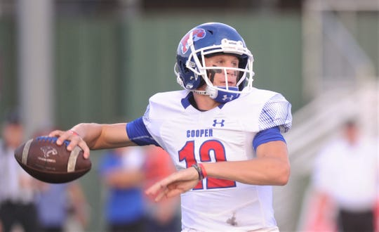 Cooper quarterback Aidan Thompson gets ready to throw a pass in the first quarter. Thompson threw TD passes of 68 and 12 yards in the Cougars' 21-20 victory over Keller on Friday, Aug. 30, 2019, at the Keller ISD Athletic Complex in Keller.