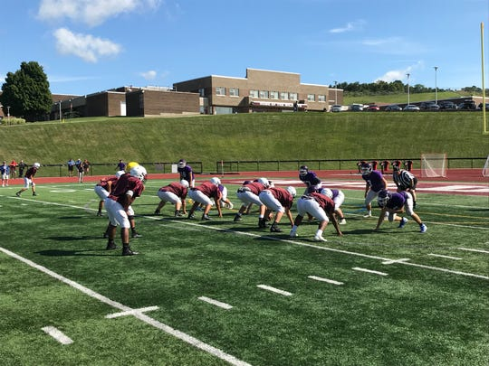 Johnson City's offense has a go at Cortland in scrimmage action Sat., 8/31 at JC.