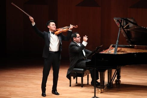 Violinist Ray Chen and pianist Julio Elizalde are in recital for the final weekend of the Olympic Music Festival Sept. 7 and 8 in Port Townsend.