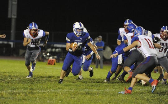 Southeastern running back Mikey Nusser runs the ball during a 36-7 win over Northwest at Southeastern High School in Chillicothe, Ohio on Friday Aug. 30, 2019.