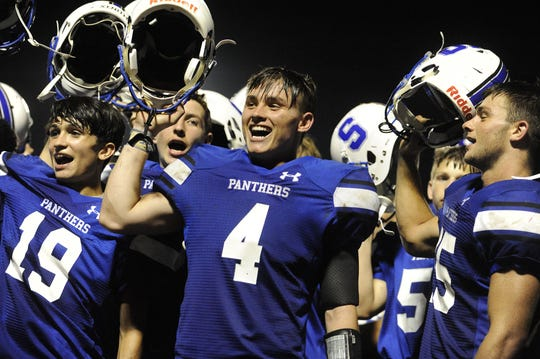 Southeastern's Dalton Thurston (4) celebrates after a 36-7 win over Northwest  at Southeastern High School in Chillicothe, Ohio on Friday Aug. 30, 2019.