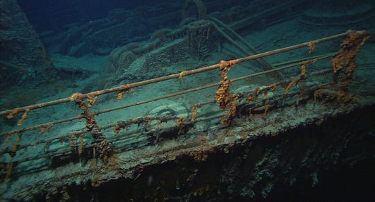 Photo released by the Institute for Archaeological Oceanography & Institute for Exploration / University of Rhode Island Grad. School of Oceanography showing the Titanic's Port bow rail, chains (center), and an auxiliary anchor boom, at far left. Dr. Robert Ballard, the man who found the remains of the Titanic nearly two decades ago has returned to the site, and is lamenting damage done by visitors and souvenir hunters.