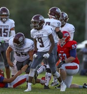 West Creek's Terrence Brown (9) yells after their team sacks Montgomery Central during a TSSAA football game between Montgomery Central Indians and West Creek Coyotes at Montgomery Central High School in Cunningham, Tenn., on Friday, Aug. 30, 2019.