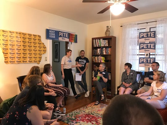 Field staffers for Democratic presidential candidate Pete Buttigieg lead an organizing event on Thursday, Aug. 29, 2019, in Iowa City.