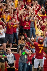 Fans react after Iowa State wide receiver La'Michael Pettway scored a touchdown during their season opening game at Jack Trice Stadium on Saturday, Aug. 31, 2019, in Ames. Iowa State would go on to defeat UNI in triple overtime 29-26.