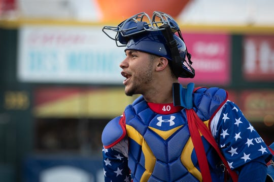 Willson Contreras of the Iowa Cubs, on a rehab assignment from the Chicago Cubs, smiles before the game against the Memphis Redbirds at Principal Park on Friday, Aug. 30, 2019 in Des Moines, Iowa. The Cubs transformed into the Iowa Caucuses for one game.