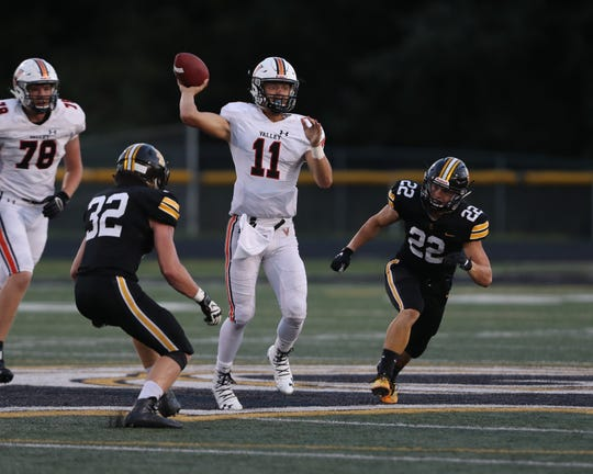 August 30, 2019; Pleasant Hill, IA, USA; West Des Moines Valley Tigers Braeden Katcher shows a pass at Southeast Polk High School.