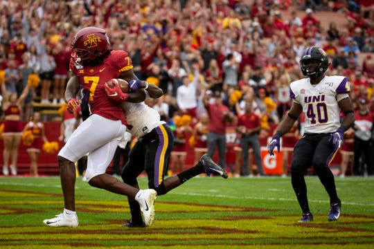 Iowa State wide receiver La'Michael Pettway runs in for a touchdown during their season opening game at Jack Trice Stadium on Saturday, Aug. 31, 2019, in Ames. Iowa State would go on to defeat UNI in triple overtime 29-26.