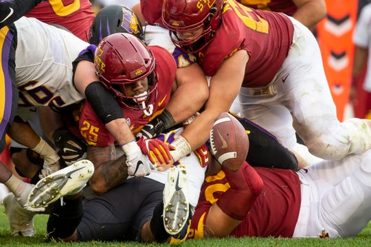 Iowa State running back Sheldon Croney Jr. (R-Sr.) (25) fumbles the ball in overtime of their season opening game at Jack Trice Stadium on Saturday, Aug. 31, 2019 in Ames. Iowa State would go on to defeat UNI in triple overtime 29-26.