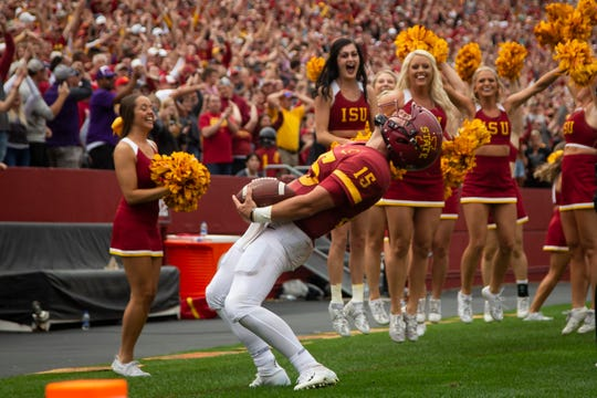 Iowa State quarterback Brock Purdy (So.) (15) celebrates after scoring a touchdown at the end of regulation that was called back for holding during their season opening game at Jack Trice Stadium on Saturday, Aug. 31, 2019 in Ames. Iowa State would go on to defeat UNI in triple overtime 29-26.