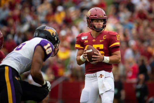 Iowa State quarterback Brock Purdy (So.) (15) looks for a pass during their season opening game at Jack Trice Stadium on Saturday, Aug. 31, 2019 in Ames. Iowa State takes a 3-0 lead over UNI into halftime.