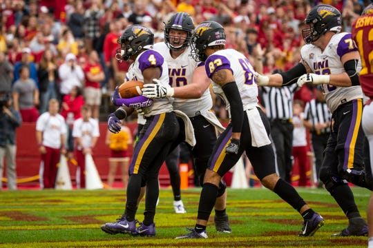 UNI reacts after UNI's Deion McShane (4) scored in overtime of their season opening game at Jack Trice Stadium on Saturday, Aug. 31, 2019 in Ames. Iowa State would go on to defeat UNI in triple overtime 29-26.