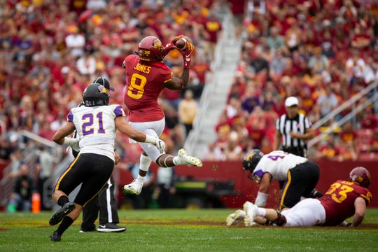 Iowa State wide receiver Deshaunte Jones (Sr.) (8) catches a pass during their season opening game at Jack Trice Stadium on Saturday, Aug. 31, 2019 in Ames. Iowa State would go on to defeat UNI in triple overtime 29-26.