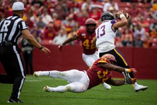 Iowa State linebacker O'Rien Vance dives to tackle UNI's Will McElvain during their season opening game at Jack Trice Stadium on Saturday, Aug. 31, 2019, in Ames.
