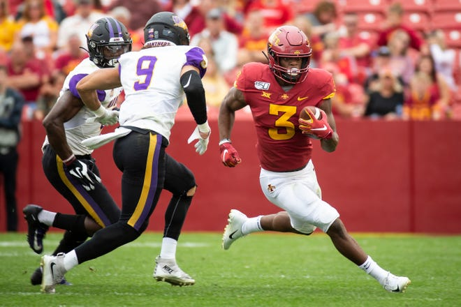 Iowa State running back Kene Nwangwu (R-Jr.) (3) rushes during their season opening game at Jack Trice Stadium on Saturday, Aug. 31, 2019 in Ames. Iowa State would go on to defeat UNI in triple overtime 29-26.