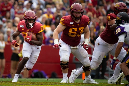 Iowa State running back Breece Hall (Fr.) (28) rushes during their season opening game at Jack Trice Stadium on Saturday, Aug. 31, 2019 in Ames. Iowa State takes a 3-0 lead over UNI into halftime.
