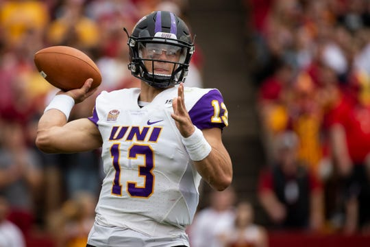 UNI's Will McElvain (13) passes during their season opening game at Jack Trice Stadium on Saturday, Aug. 31, 2019 in Ames. Iowa State takes a 3-0 lead over UNI into halftime.