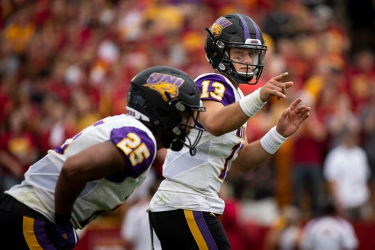 UNI's Will McElvain (13) calls out a play during their season opening game at Jack Trice Stadium on Saturday, Aug. 31, 2019 in Ames. Iowa State takes a 3-0 lead over UNI into halftime.