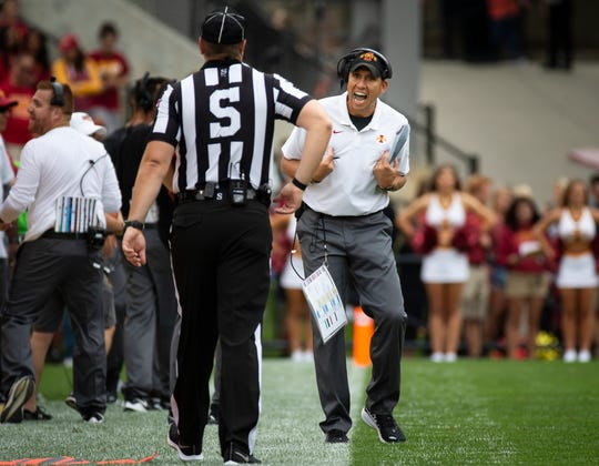 Iowa State head coach Matt Campbell argues a call during their season opening game at Jack Trice Stadium on Saturday, Aug. 31, 2019 in Ames. Iowa State takes a 3-0 lead over UNI into halftime.
