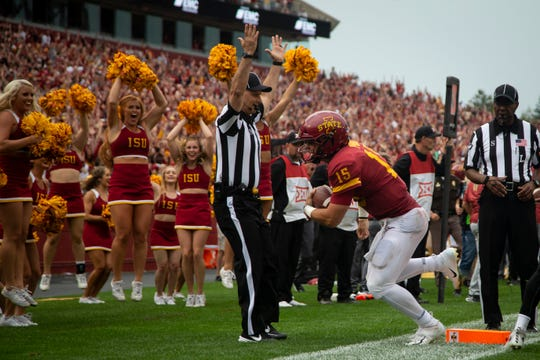 Iowa State quarterback Brock Purdy (15) celebrates after scoring a touchdown at the end of regulation that was called back for holding during their season opening game at Jack Trice Stadium on Saturday, Aug. 31, 2019 in Ames. Iowa State would go on to defeat UNI in triple overtime 29-26.