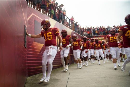 Iowa State quarterback Brock Purdy (So.) (15) enters the field before their season opening game at Jack Trice Stadium on Saturday, Aug. 31, 2019 in Ames. Iowa State takes a 3-0 lead over UNI into halftime.