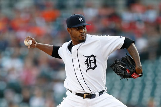 Detroit Tigers starting pitcher Edwin Jackson throws during the first inning against the Minnesota Twins, Friday, Aug. 30, 2019, in Detroit.