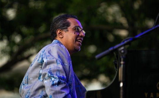 Danilo Perez of Danilo Perez's Global Big Band performs at the piano during the 40th Annual Detroit Jazz Festival at Campus Martius Park on Friday, Aug. 30, 2019.