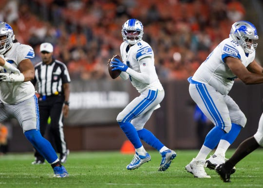 Detroit Lions quarterback Josh Johnson looks for a receiver against the Cleveland Browns during a preseason game Aug. 29, 2019 in Cleveland.