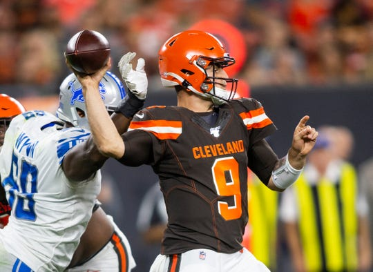 David Blough throws the ball against the Lions on Thursday.