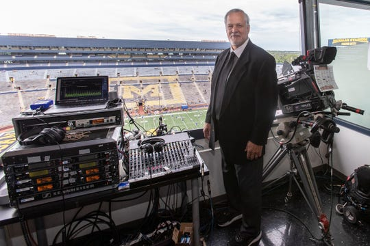 Matt Millen's first day back on the job for the Big Ten Network at Michigan Stadium in Ann Arbor after his heart transplant surgery on Saturday, August 31, 2019.