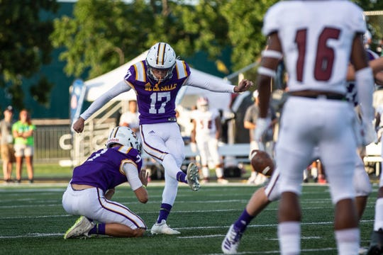 Warren De La Salle kicker Daniel Heppler (17) attempt for a field goal against Muskegon during the first half of Prep Kickoff Class at Wayne State University's Tom Adams Field in Detroit, Friday, August 30, 2019.