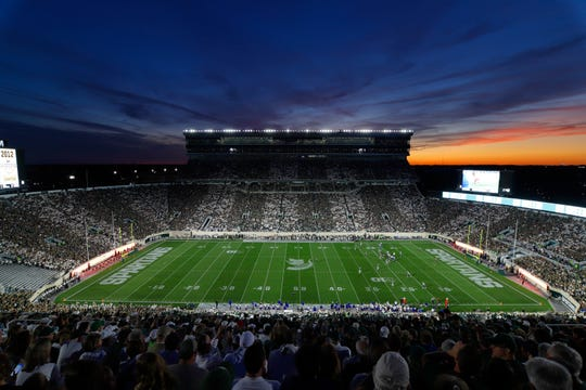 Michigan State and Tulsa play in the second quarter Friday, Aug. 30, 2019, in East Lansing.