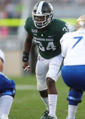 Michigan State Spartans' Antjuan Simmons lines up against the Tulsa Golden Hurricane, Friday, August 30, 2019 at Spartan Stadium.