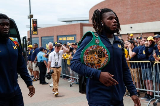 Michigan safety Josh Metellus arrives at Michigan Stadium before the Middle Tennessee State game, Saturday, August 31, 2019.