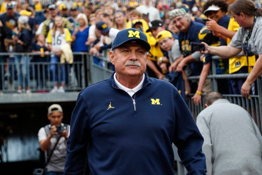 Michigan defensive coordinator Don Brown before the Middle Tennessee State game at Michigan Stadium, Saturday, August 31, 2019.