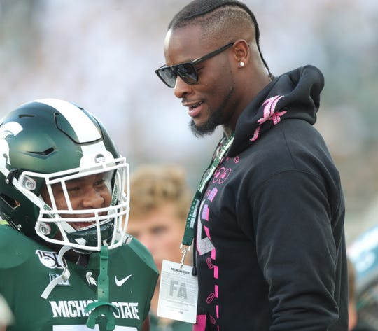 Former Michigan State Spartans running back Le'Veon Bell on the sideline during action against the Tulsa Golden Hurricane, Friday, August 30, 2019 at Spartan Stadium.