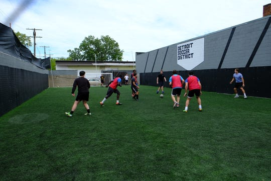 Teams compete in a tournament at Detroit Soccer District at their grand opening on Aug. 31, 2019.
