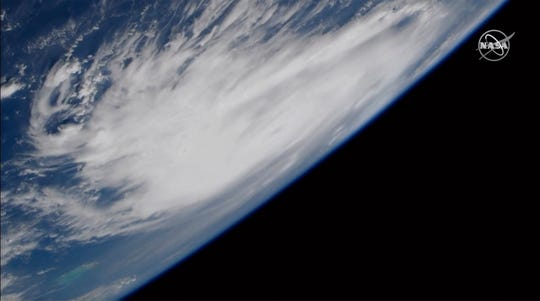 This Friday image provided by NASA shows Hurricane Dorian from the International Space Station as it churned over the Atlantic Ocean.