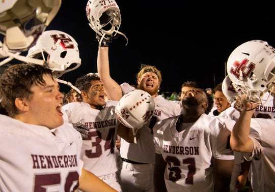 Henderson County celebrates breating North at Bundrant Stadium Friday evening. Henderson County came back to beat North 39-35.
