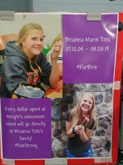 This poster, created by Jennifer Wiese, was posted at the concession stand Thursday, Aug. 29, during the Oakfield High School football game to collect donations benefiting the Totz family. In total, $1161 was raised at the stand.