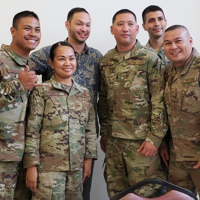 Del. Mike San Nicolas met Guam troops at Al Udeid Airbase in Qatar recently.